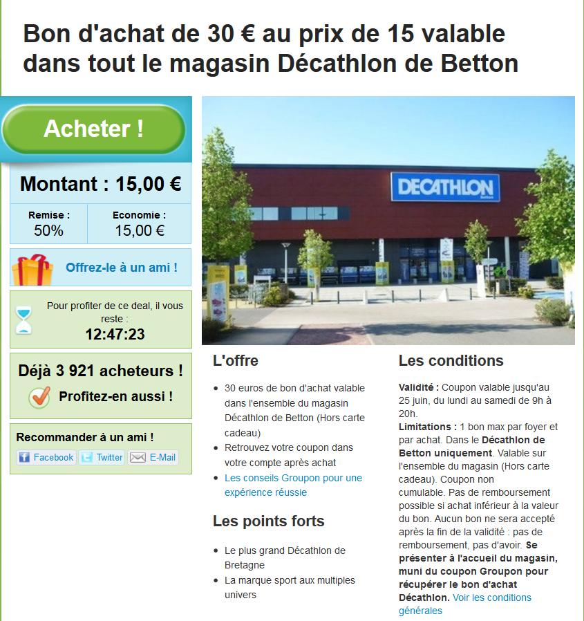 15 le bon d 39 achat de 30 au d cathlon de betton rennes for Plan betton